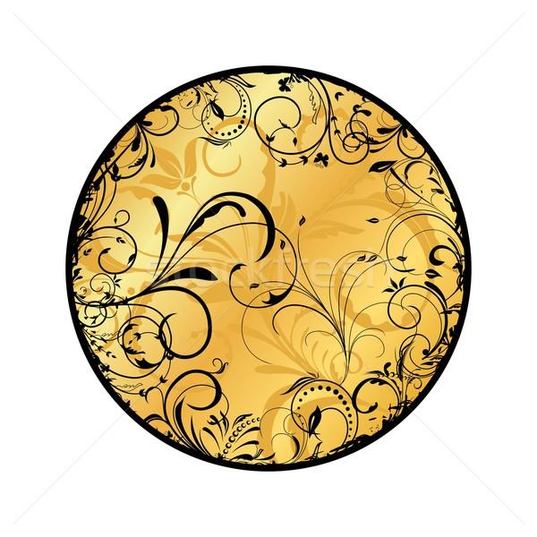 Gold floral Medaillon Illustration Vektor Design Stock foto © smeagorl
