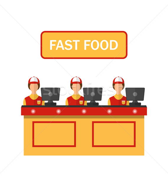 Stock photo: Cashiers with Cash Register in Diner with Fast Food