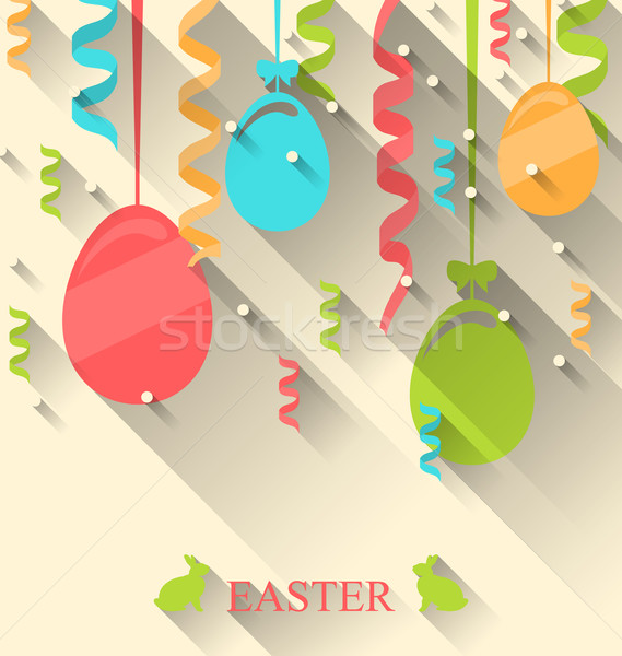 Easter Background with Colorful Eggs and Serpentine Stock photo © smeagorl