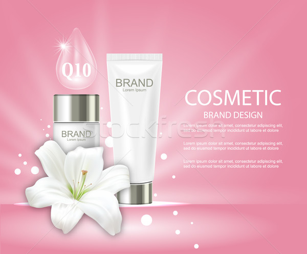 Advertising Poster with Cosmetic Tubes and Lily Flower Stock photo © smeagorl