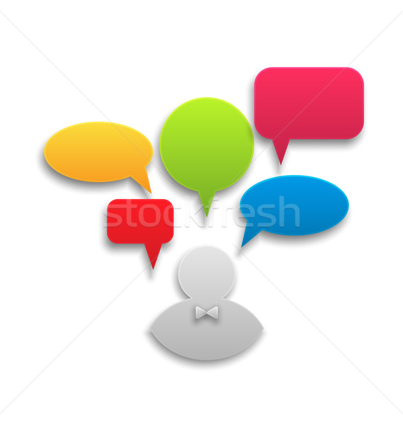 Icon of businessman with set colorful speech bubbles Stock photo © smeagorl