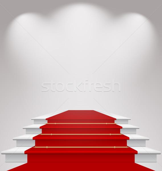 階段 カバー レッドカーペット シーン 実例 ストックフォト © smeagorl