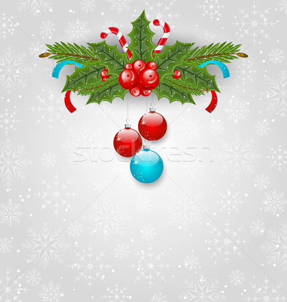 Christmas background with balls, holly berry, pine and sweet can Stock photo © smeagorl