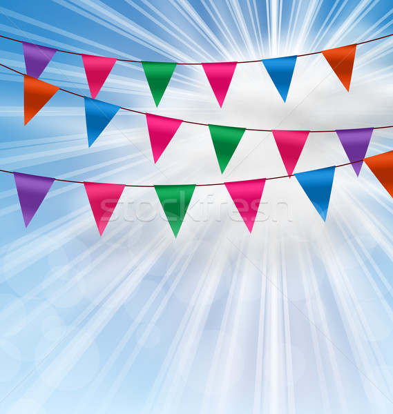 Party Background with Buntings Flags Garlands Stock photo © smeagorl