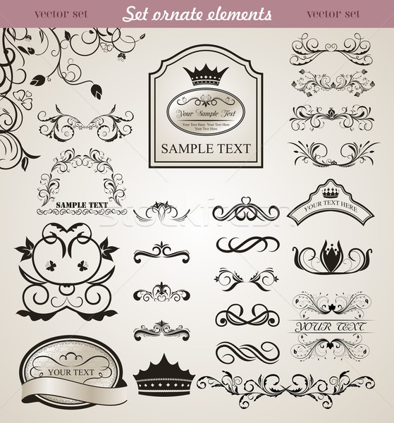 set floral ornate design elements (3) Stock photo © smeagorl