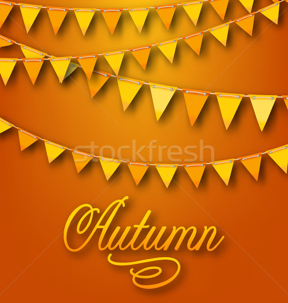 Autumn Bright Holiday Card with Hanging Bunting Pennants Stock photo © smeagorl