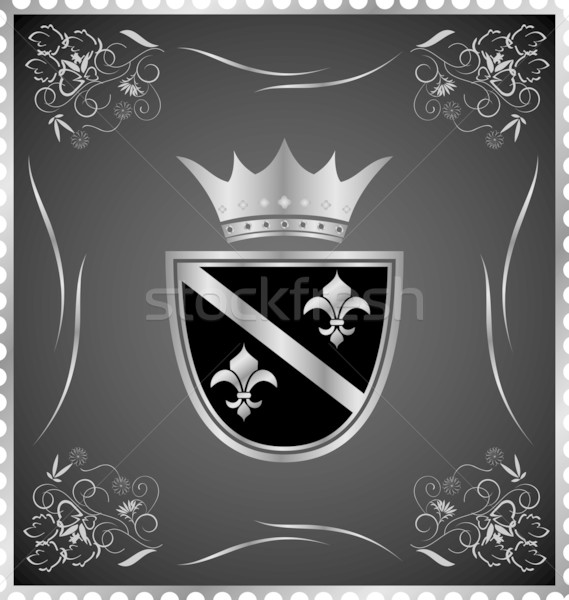vintage post mark with silver heraldic elements Stock photo © smeagorl