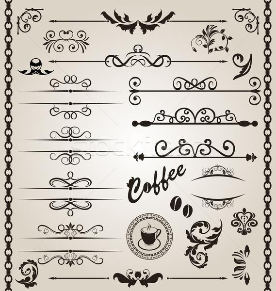 Set floral ornate design elements (7) Stock photo © smeagorl