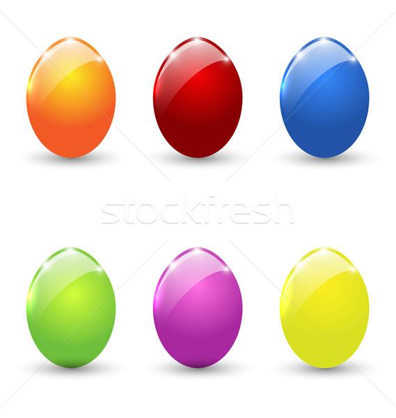 Pasen ingesteld kleurrijk eieren geïsoleerd illustratie Stockfoto © smeagorl