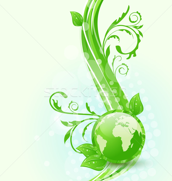Wavy background with global planet and eco green leaves Stock photo © smeagorl