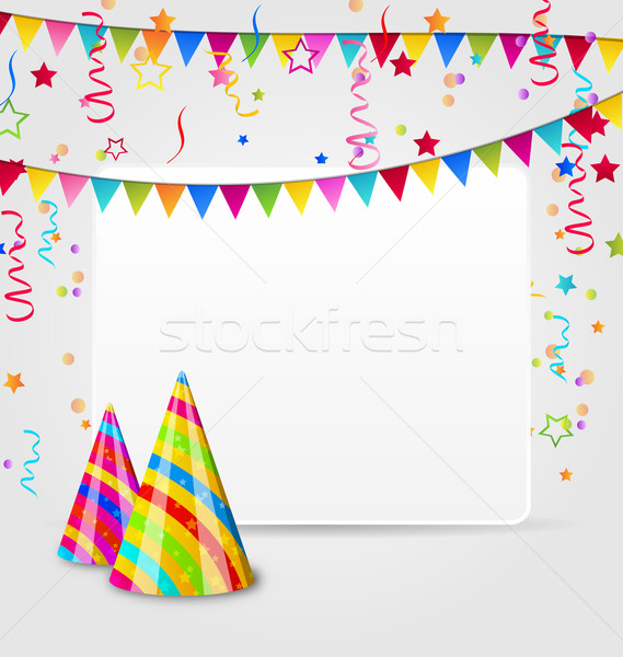 Celebration card with party hats, confetti and hanging flags Stock photo © smeagorl