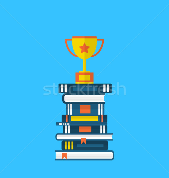 Flat icons of heap textbooks and cup of award Stock photo © smeagorl