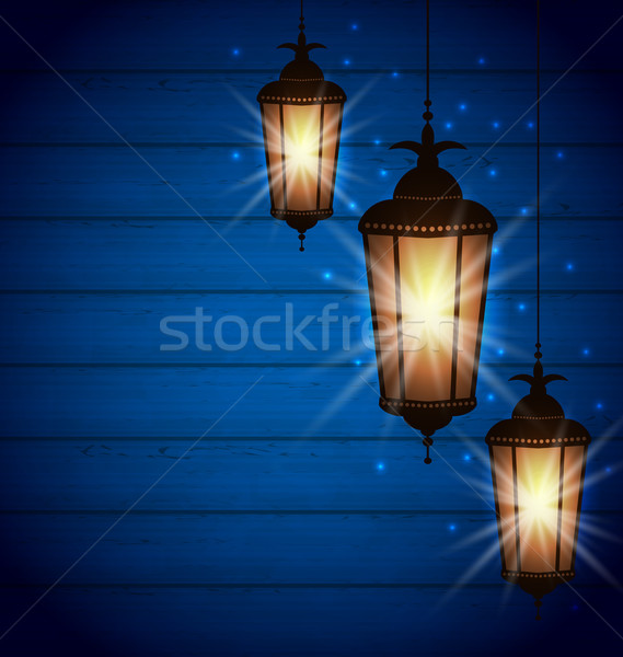 Set Arabic Lamps for Holy Month of Muslim Community Stock photo © smeagorl
