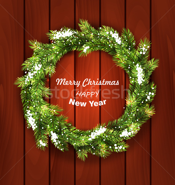 Christmas Wreath with Snow Stock photo © smeagorl