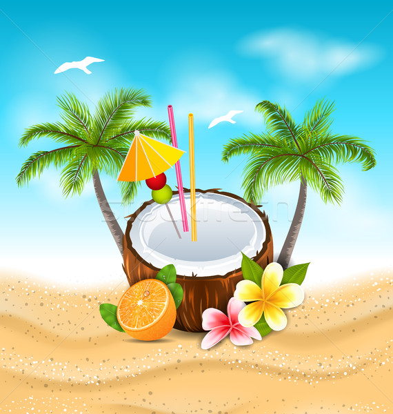 Exotic Coconut Cocktail with Frangipani, Orange and Palm Trees Stock photo © smeagorl