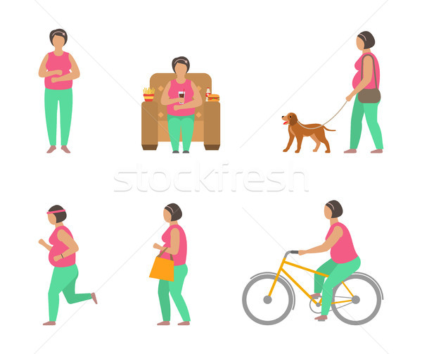 Combating Obesity Through Sports. Fat Woman Walking Dog, Bicycling, Jogging Stock photo © smeagorl