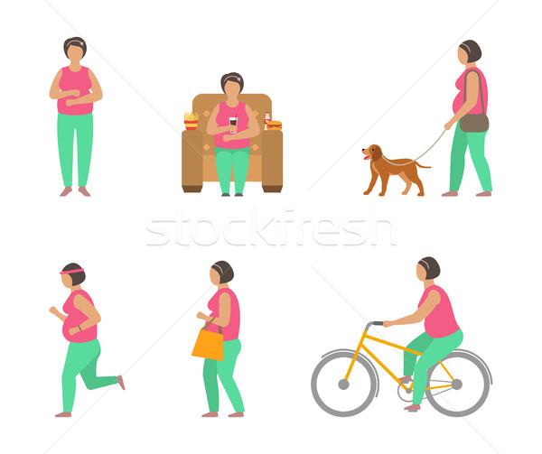 Otyłość sportowe tłuszczu kobieta spaceru psa Zdjęcia stock © smeagorl