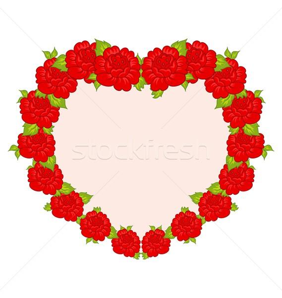 Stockfoto: Mooie · bloemen · hart · illustratie · bloem · bruiloft