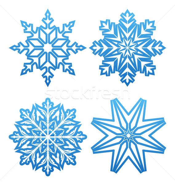 Stockfoto: Ingesteld · variatie · sneeuwvlokken · geïsoleerd · illustratie · abstract