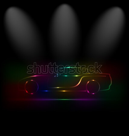 Silhouette of car with headlights in darkness  Stock photo © smeagorl