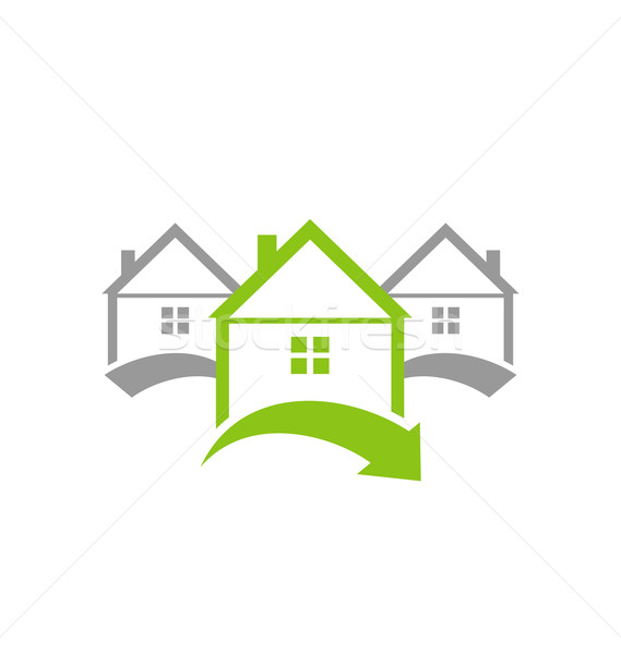 Ecological concept icon renewable green houses Stock photo © smeagorl