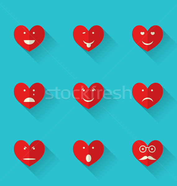 Set flat icons of smiles heart, style with long shadows Stock photo © smeagorl