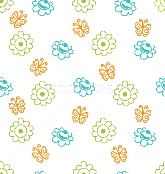 Seamless Texture with Flowers and Butterflies, Elegance Pattern Stock photo © smeagorl