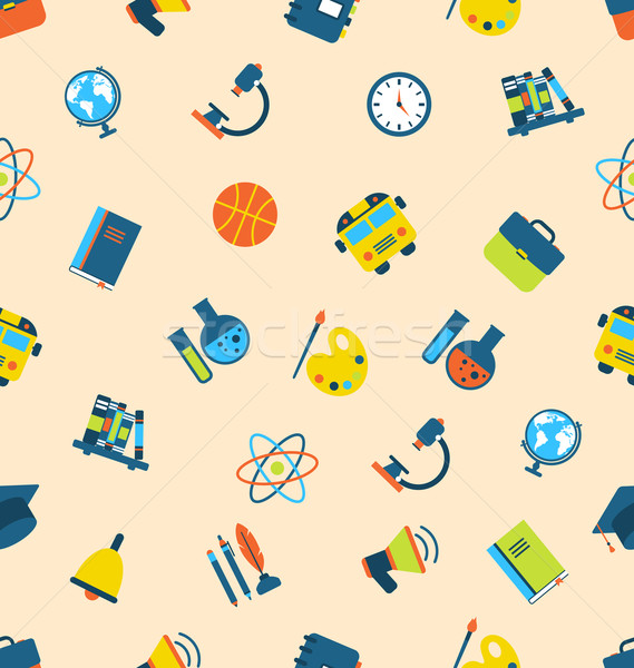 Illustration Seamless Pattern with Icons of Education Subjects,  Stock photo © smeagorl