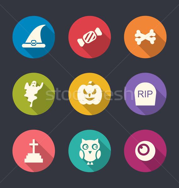 Stock photo: Flat Icons of Halloween Symbols