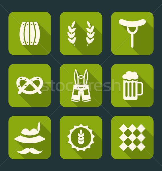 Oktoberfest semboller örnek simgeler modern uzun Stok fotoğraf © smeagorl