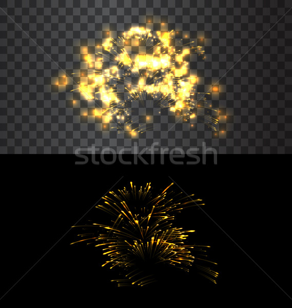 Isolé feux d'artifice or noir transparent Photo stock © smeagorl