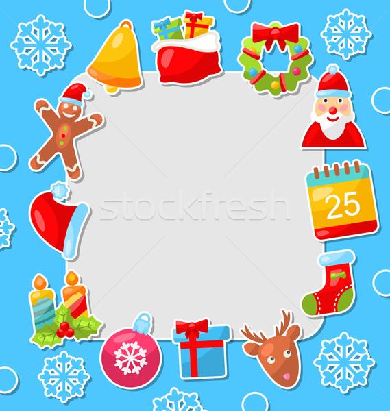 Foto stock: Alegre · Navidad · celebración · tarjeta · ilustración · tradicional