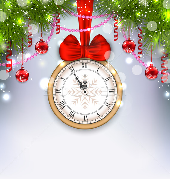 Nouvelle année minuit horloge illustration sapin Photo stock © smeagorl