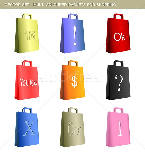 Realistic illustration collection of multi-coloured packets Stock photo © smeagorl