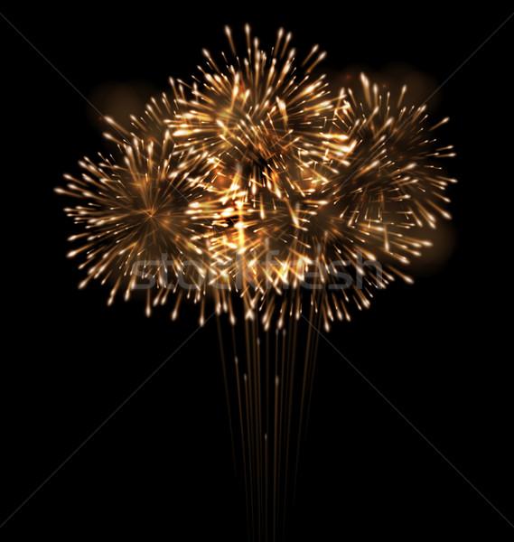 Realistyczny fajerwerków nieba ilustracja strony szczęśliwy Zdjęcia stock © smeagorl