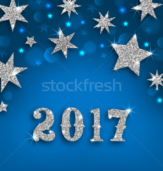 Csillagos ezüst boldog új évet illusztráció csillogó luxus Stock fotó © smeagorl