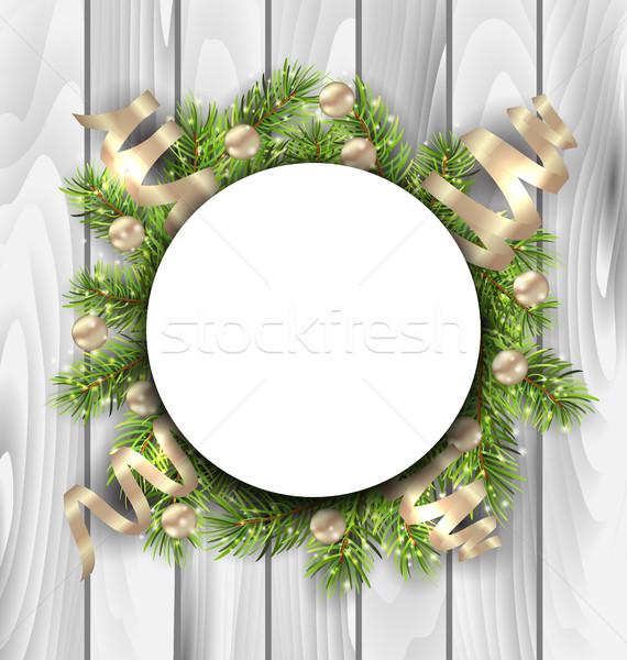 Clean Card with Fir Twigs, Balls and Serpentine Stock photo © smeagorl