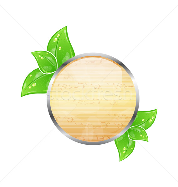 Wooden circle board with eco green leaves Stock photo © smeagorl