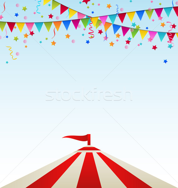 Circus striped tent with flags Stock photo © smeagorl