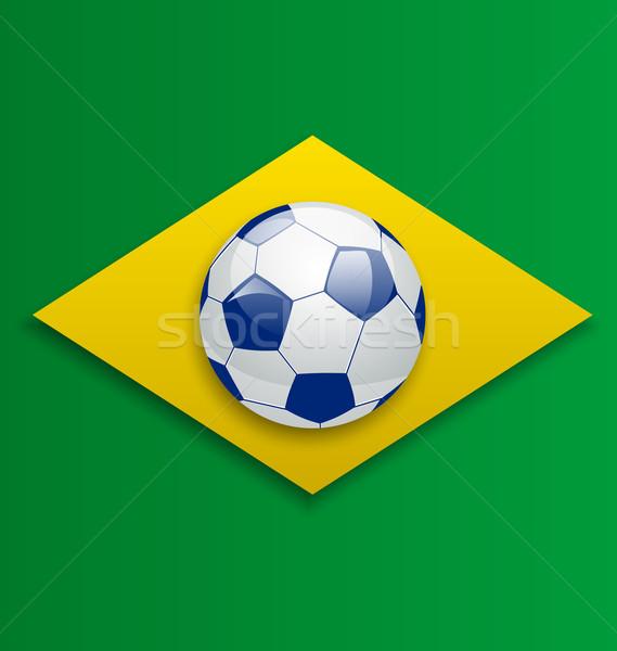 Soccer ball, concept for Brazil 2014 football championship Stock photo © smeagorl