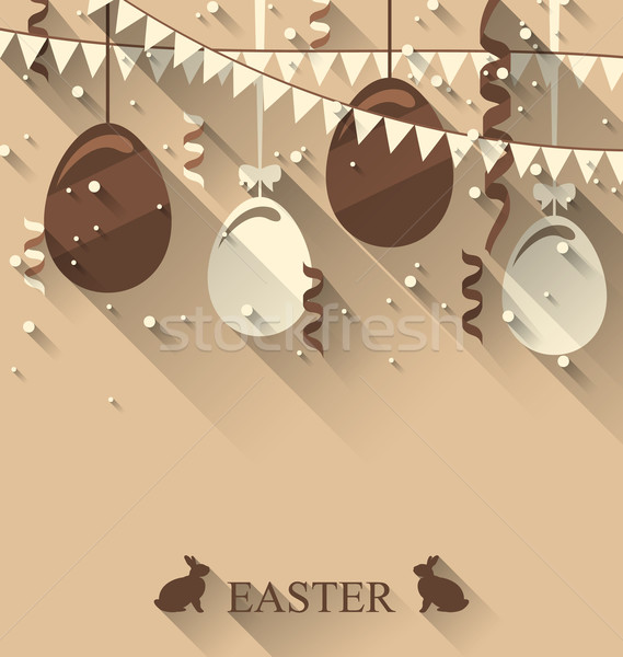 Easter background with chocolate eggs, serpentine and bunting fl Stock photo © smeagorl