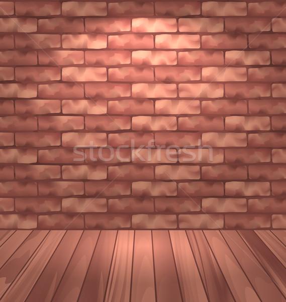 Barna téglafal fapadló üres szoba belső illusztráció Stock fotó © smeagorl