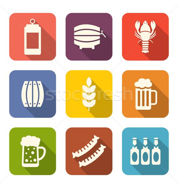 Kolekcja minimalny ikona przekąski ilustracja długo Zdjęcia stock © smeagorl