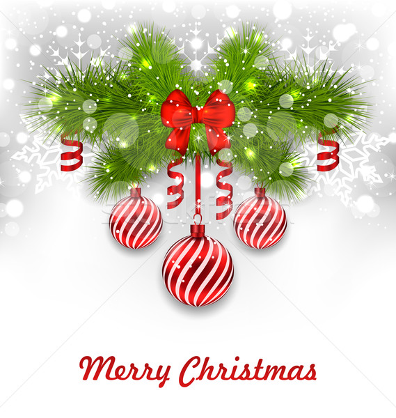 Рождества приветствие иллюстрация ель Сток-фото © smeagorl