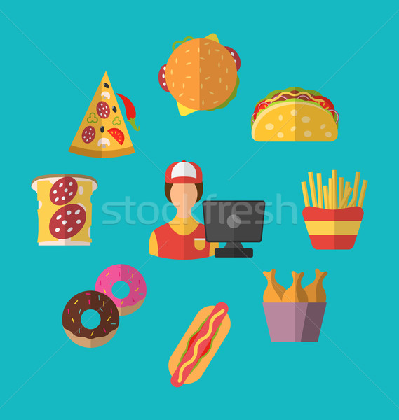 Set Fast Food Flat Icons with Cashier Seller Stock photo © smeagorl