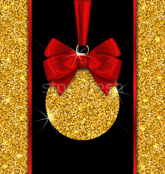 Glitter Card with Christmas Ball with Golden Surface Stock photo © smeagorl