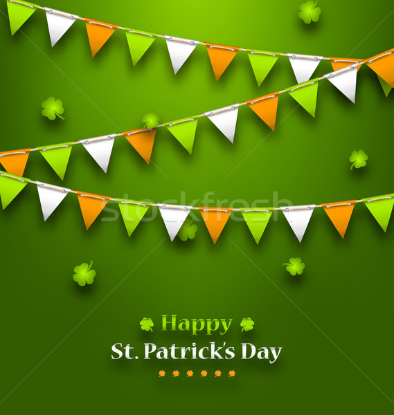 Bunting Pennants in Irish Colors and Clovers for St. Patrick's D Stock photo © smeagorl