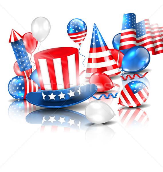 Színes sablon amerikai ünnepek illusztráció léggömbök Stock fotó © smeagorl