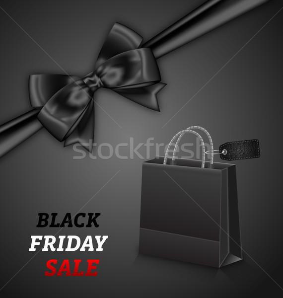 Zakupy torby papierowe black friday sprzedaży łuk ilustracja Zdjęcia stock © smeagorl