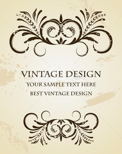 Foto stock: Ilustración · hermosa · vintage · plantilla · vector · flor